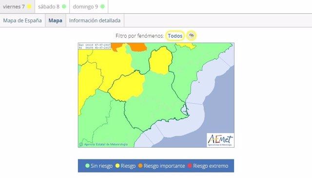 Mapa de la Aemet con las zonas en las que está activo el aviso amarillo