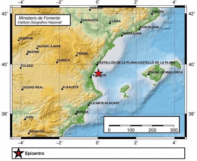 Terremoto registrado en el Golfo de Valencia