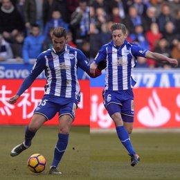 Theo Hernández y Marcos Llorente con el Deportivo Alavés