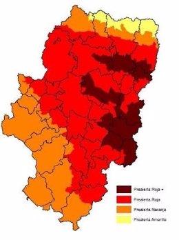 Mapa de riesgos de incendios del 7 de julio de 2017