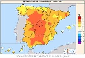El mes de junio de 2017 ha sido el junio más cálido en 52 años, con una temperatura 3ºC más alta de la media