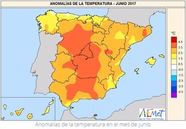 Mapa de anomalías térmicas en junio