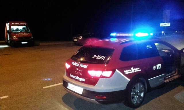 Control de la Policía Foral en Caparroso.