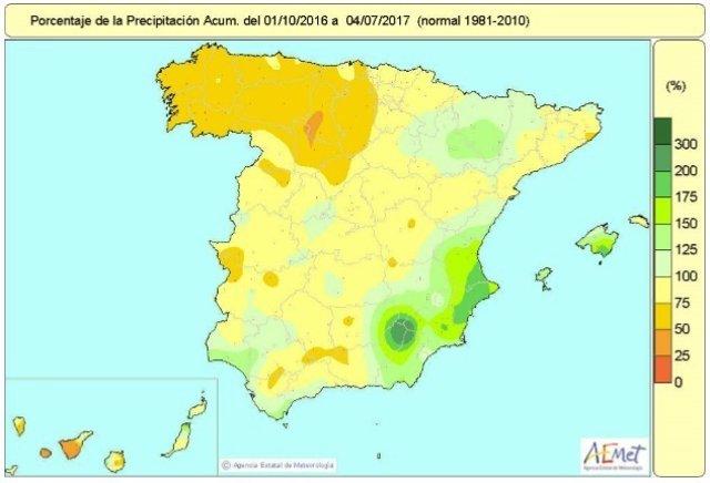 Porcentaje de precipitación acumulada desde que empezó el año hidrológico