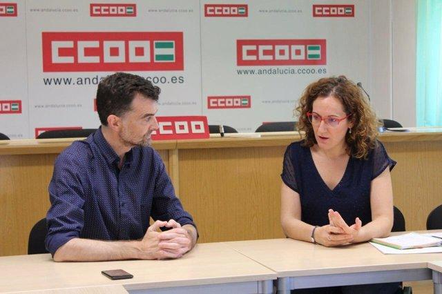 El líder de IULV-CA, Antonio Maíllo, y de CCOO-A, Noelia López