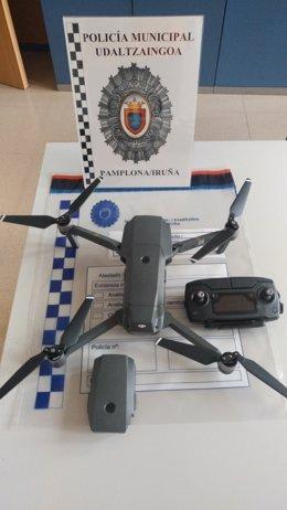 Dron requisado por la Policía Municipal de Pamplona