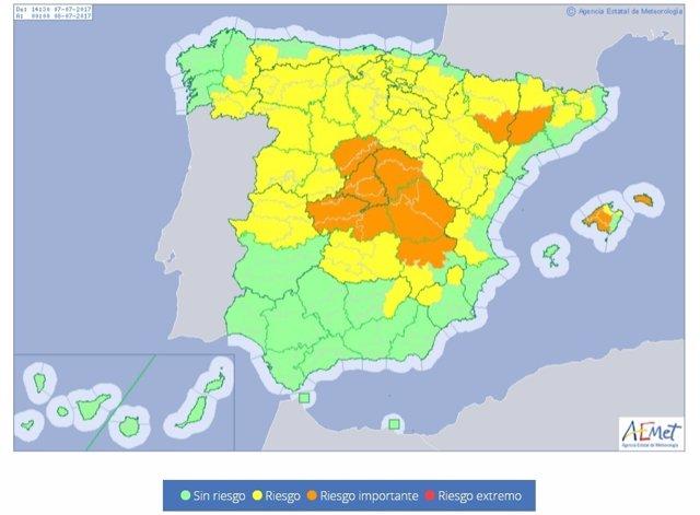 Provincias en riesgo para el 7 de julio