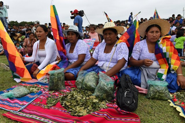 Women coca growers sit at the Stadium of Chimore during a ceremony in Chimore in