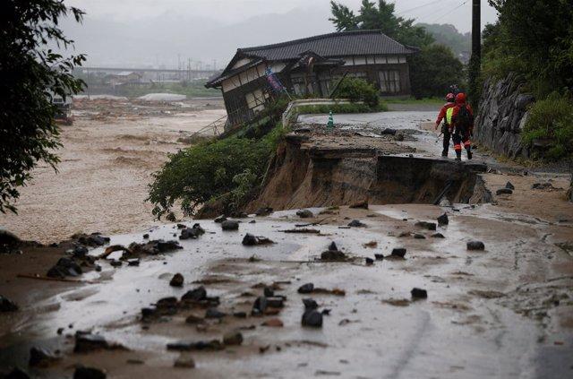 Áreas afectadas por las lluvias torrenciales, Japón