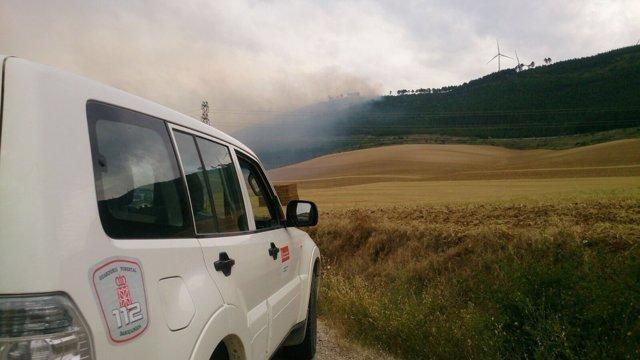 Incendio en los altos de Aibar.