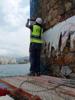 Málaga torre del cable marbella montaje estructura de seguridad limpieza obras