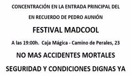 Los sindicatos de música convocan una concentración en recuerdo del acróbata fallecido en el Mad Cool Festival