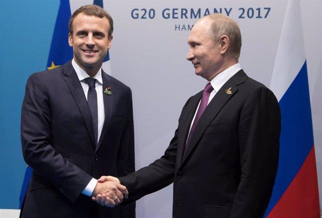 Emmanuel Macron y Vladimir Putin en G20 alemania