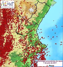 Rayos caídos en la Comunitat Valenciana este viernes