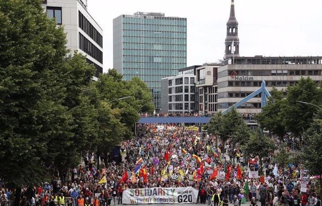 Manifestación contra el G20 en Hamburgo