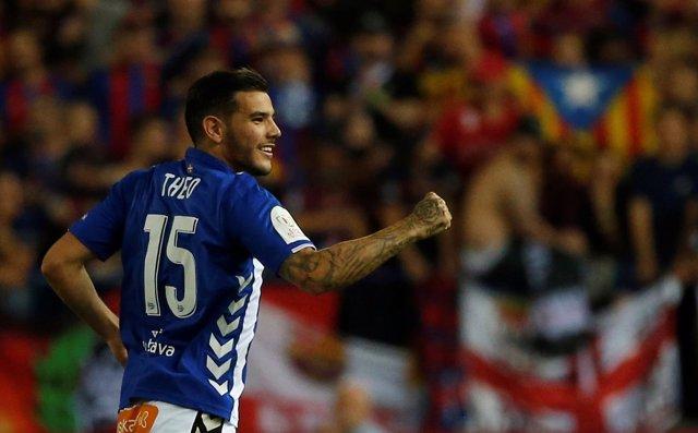 Theo Hernández, jugador del Alavés en la final de Copa del Rey