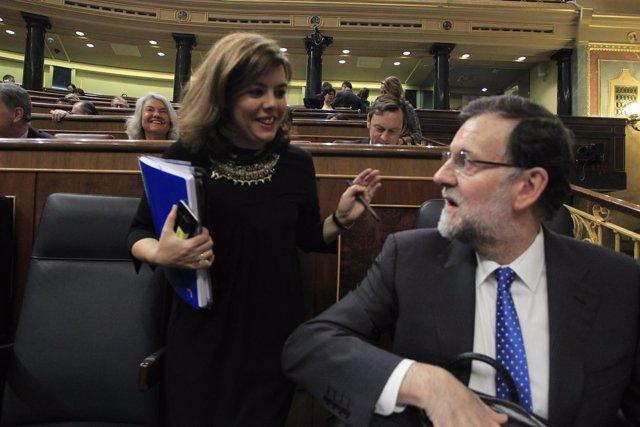 Mariano Rajoy y Soraya Sáenz Santamaría en el Congreso