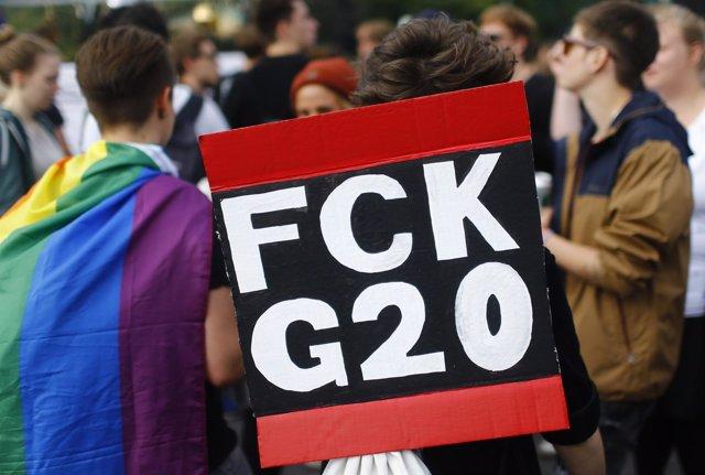 Manifestación en Hamburgo por la cumbre G-20