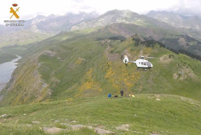 Imagen del rescate en el pico Pacino