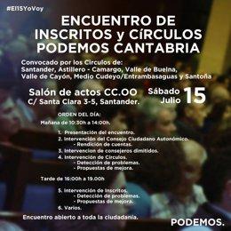 Cartel Encuentro de los Círculos de Podemos Cantabria