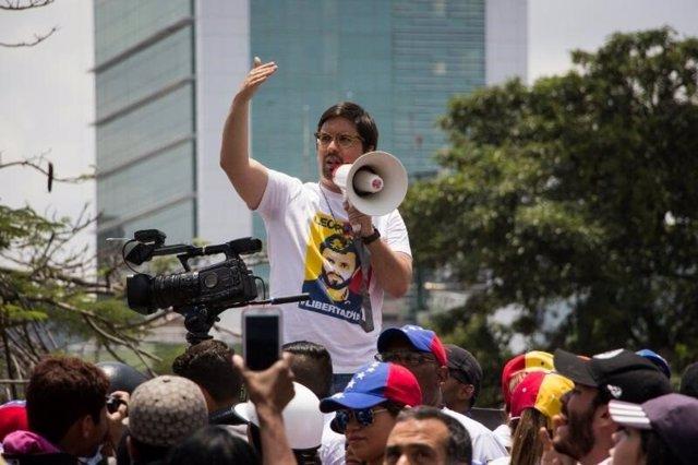 Freddy Guevara, de la MUD, en una manifestación en Caracas