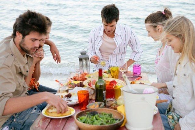 Playa, comer, comida, amigos