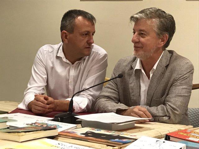 El alcalde de Zaragoza, Pedro Santisteve, y el consejero Fernando Rivarés.