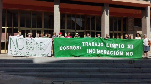Miembros de la Plataforma Córdoba Aire Limpio ante el Ayuntamiento