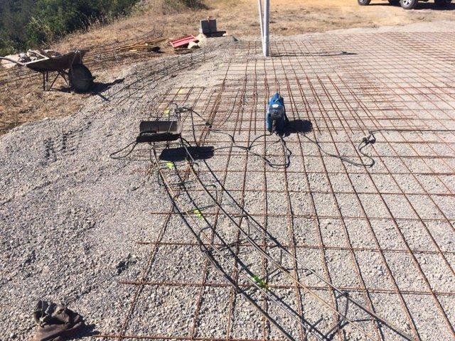 Obras de reconstrucción del depósito para helicópteros de Vallirana