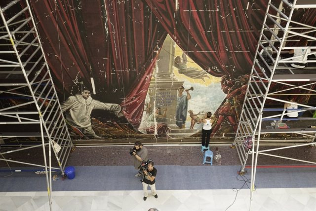 Restauración del telón de boca de ferrándiz teatro cervantes málaga  cultura