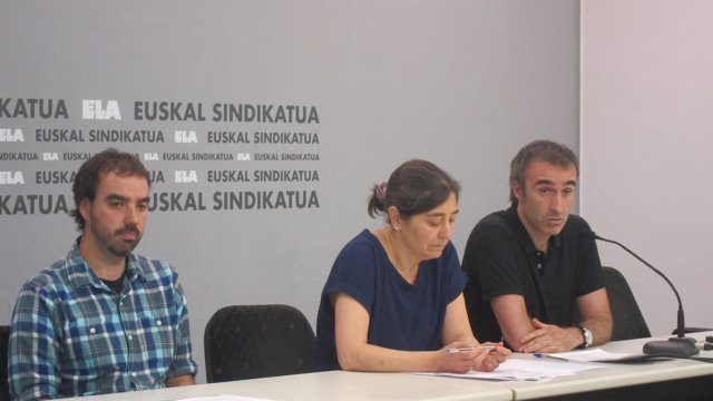 Peio Igeregi, Mari Jose Viso y Unai Martínez (ELA)