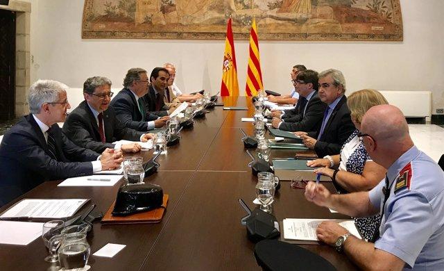 Reunión de la Junta de Seguridad de Catalunya en la Generalitat