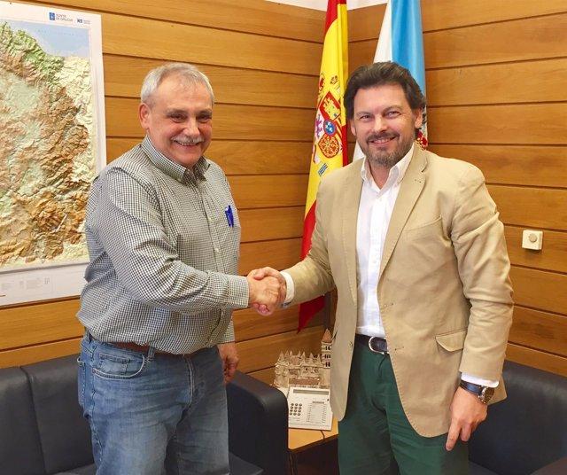 Rodríguez Miranda con el presidente de Fevega