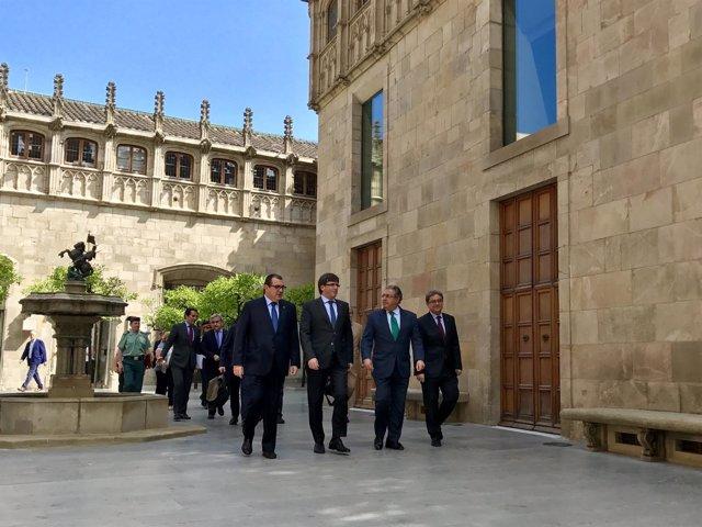 Jordi Jané, Carles Puigdemont, Juan Ignacio Zoido y Enric Millo