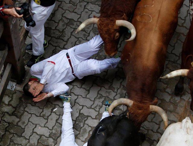 Quinto encierro de San Fermín con la ganadería Jandilla