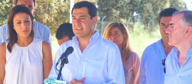 Juanma moreno presidente del PP-A en arriate con maria paz fernandez y marmolejo