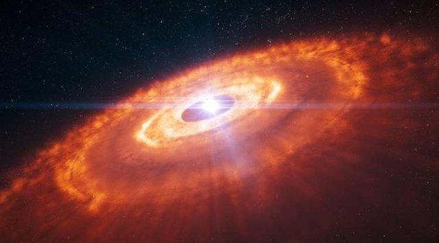 Impresión artística de una joven estrella rodeada por un disco protoplanetario