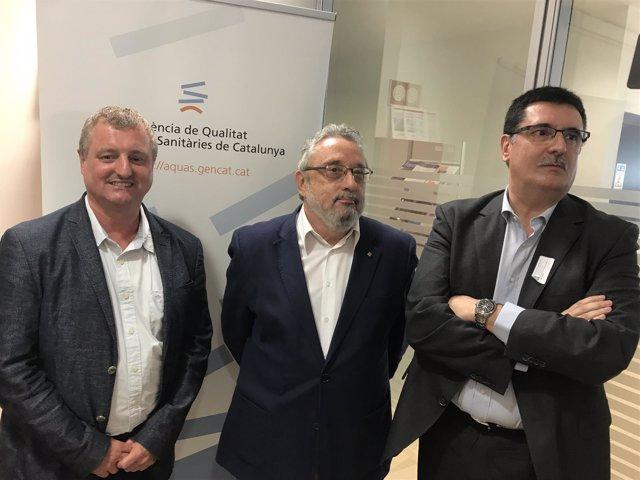 El director del Aquas, A.Dedeu, J.Guix (Salud Pública) y J.Sala (SEM)