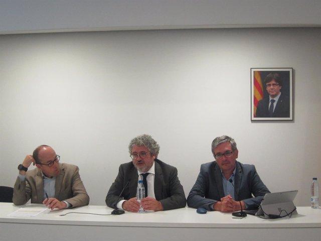 R.Carbonell, J.J.Moreso y M.Casadesús, en la presentación de un estudio del AQU