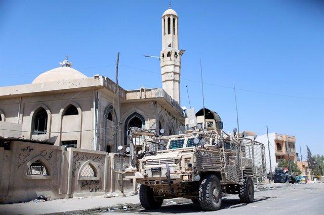 Vehículo militar de Estados Unidos en Mosul