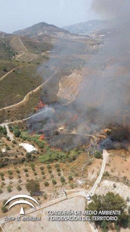 Declarado un incendio en el paraje de La Gorgoracha, en Vélez de Benaudalla