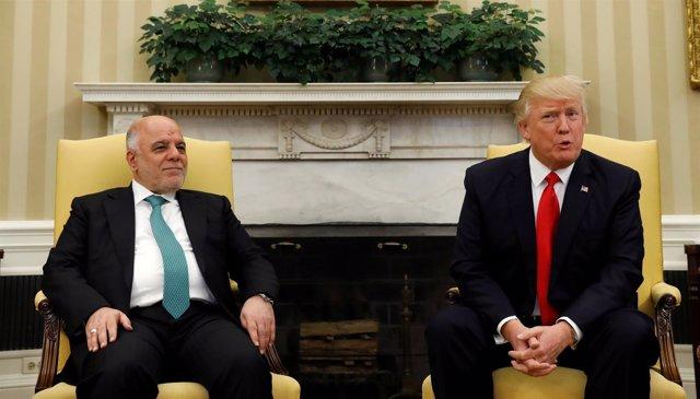 El primer ministro iraquí, Haider al Abadi, con Donald Trump en la Casa Blanca