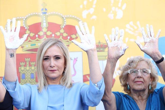 Cifuentes y Carmena en el homenaje a Miguel Ángel Blanco en la Plaza de la Villa