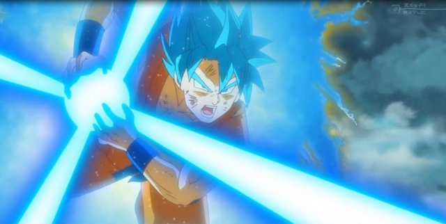 Goku realizando un kamehameha