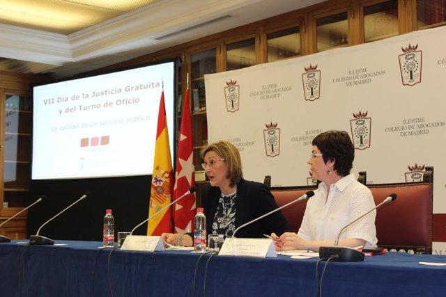 La decana del ICAM, Sonia Gumpert, y la diputada cuarta Begoña Castro