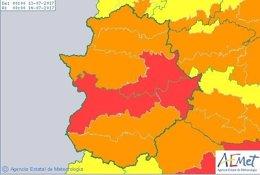 Avisos de nivel rojo y naranja en Extremadura por calor