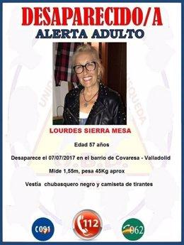 Valladolid.- Cartel que circula por redes sociales de la desaparecida