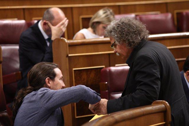 Pablo Iglesias y Joan Tardá en el Congreso