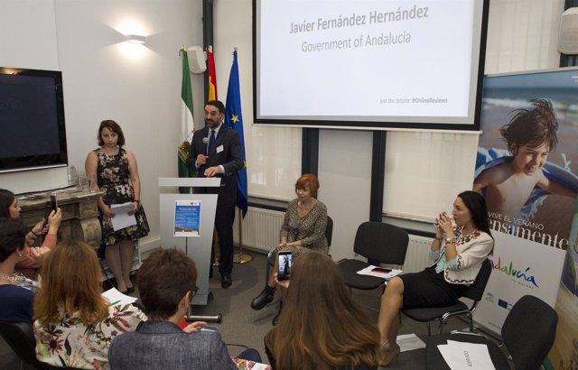 Francisco Javier Fernández presenta el nuevo Big Data de Andalucía en Bruselas.