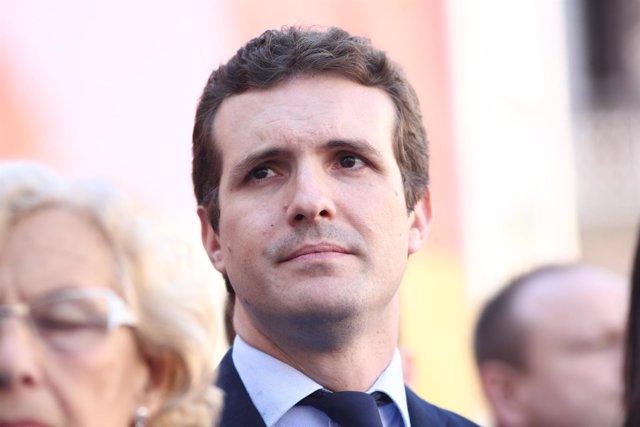 Pablo Casado en el homenaje a Miguel Ángel Blanco en la Plaza de la Villa